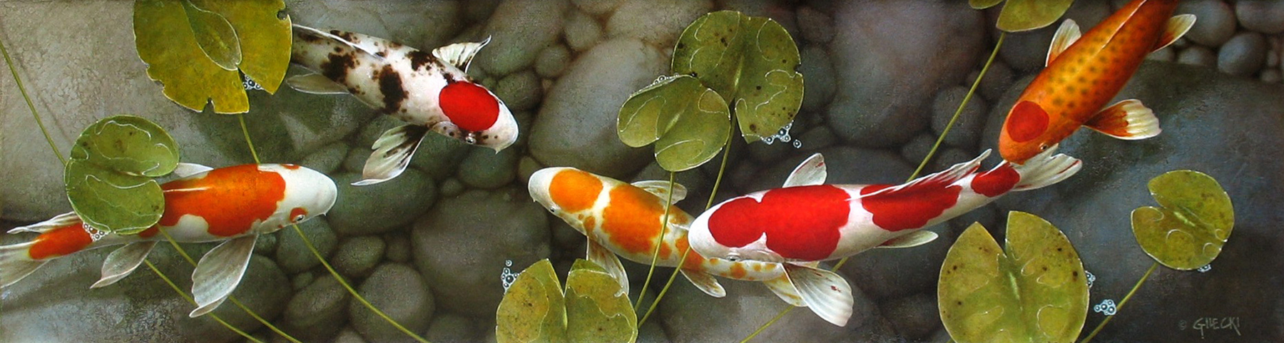 Painting of koi fish in pond