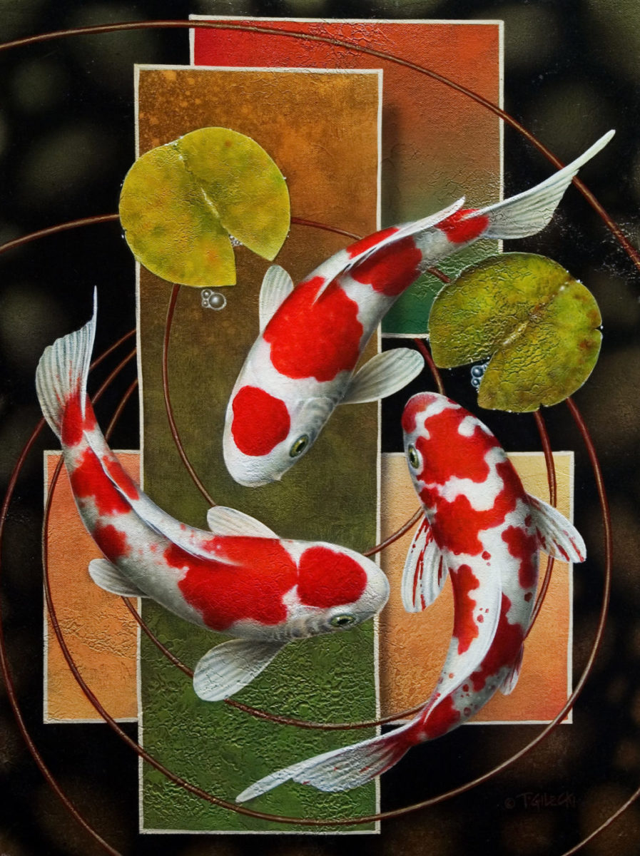Abstract koi painting