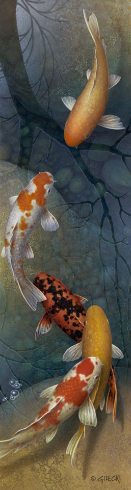 Painting of four Koi Fish