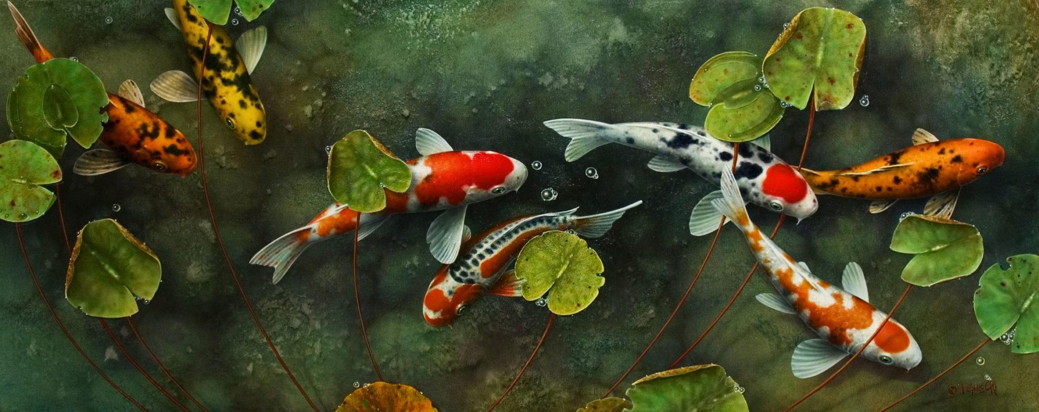 One moment please 24x60 the fine art of terry gilecki for Koi carp art