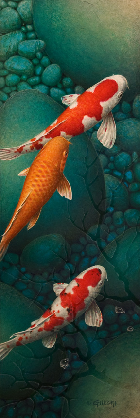 vertical koi fish painting