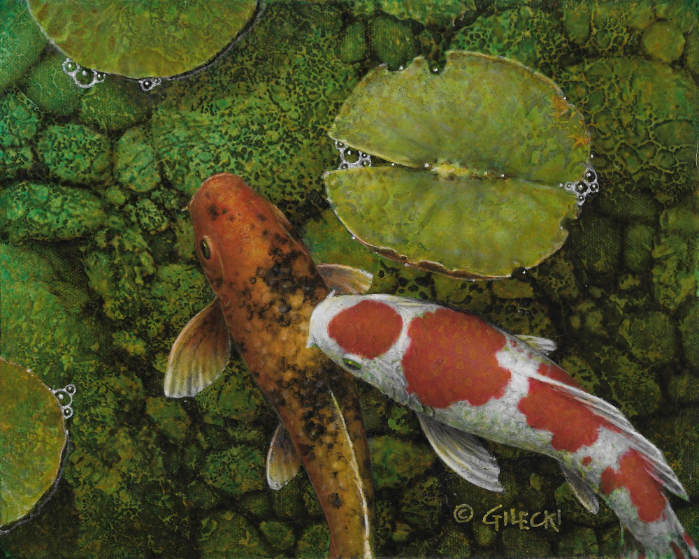 Small painting of koi fish in a green pond