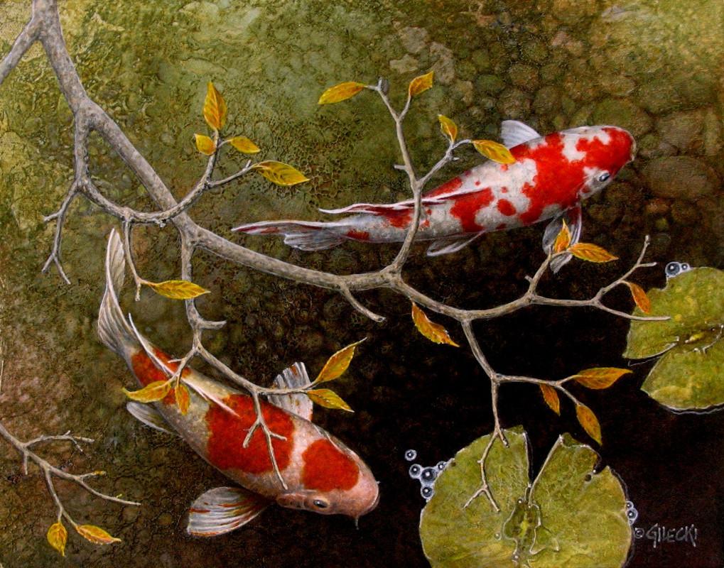 Autume leaves over a koi fish pond